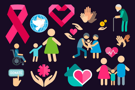 Charity care flat icons set. Care vector icons.  Illustration