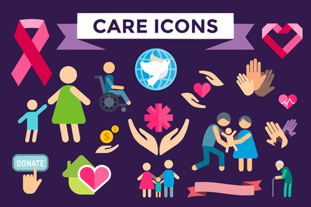 Charity care flat icons set. Care vector icons.