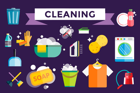 cleaning equipment: Cleaning icons vector set. Icons of clean service and cleaning tools. Housework cleaning icons vector set. Home clean, sponge icon, broom icon, bucket icon, mop icon, cleaning brush vector icon