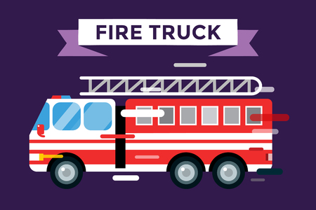 Fire truck car isolated. Fire truck vector cartoon silhouette. Fire truck mobile fast emergency service. Fire truck fast moving. Fire truck vector illustration.Vector rescue fire truck.Emergency truck Illustration