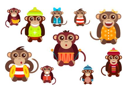 Vector de dibujos animados feliz navidad juguetes mono bailando fondo fiesta de cumpleaños. Mono de baile de cumpleaños. Juguetes mono Feliz Navidad, vector mono, plátano, salto, sonrisa, juego del mono. Vector animales mono de la historieta estilo plano Foto de archivo - 46480439