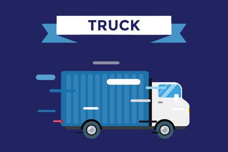 camión: Entrega vector camión. Van Servicio a domicilio. Furgoneta de salida silueta del vector. Icono del coche de entrega. Aislado camión de entrega rápida. Salida del vector del coche camión de conducir rápido. Camión de reparto de coche del vector. Publicar, caja, carga, envío