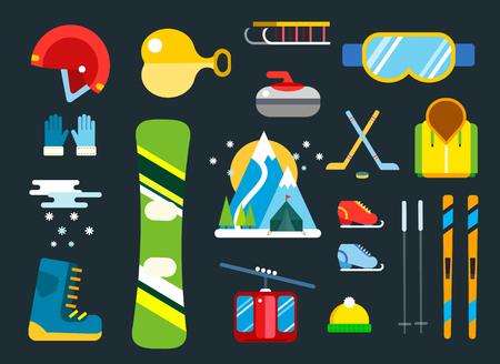 winter sport: Winter sport vector icons set. Winter sport games icons pictograms. Winter sports icons flat design. Winter games sport icons isolated. Ski, sport, extreme sports, winter games, sport icons, snowboarding, winter clothes