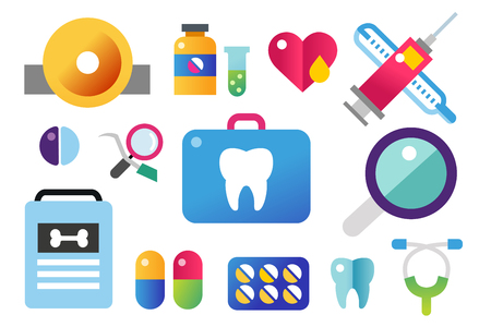 oral hygiene: Dental vector icons set. Dentist clinic icons . Vector tooth, heart, pills, health care, tooth care, oral hygiene, tooth, toothbrush. Dentist clinic doctor office tools. Tooth halth care