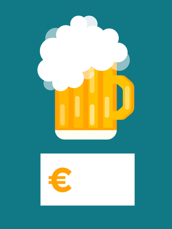 cups silhouette: Beer bottle price blank vector. Beer bottle, beer glass and beer label. Beer cups silhouette, beer vector icons, beer isolated. Oktoberfest beer vector set. Beer drink, beer sign, price blank euro