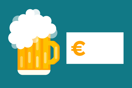 beer label design: Beer bottle price blank vector. Beer bottle, beer glass and beer label. Beer cups silhouette, beer vector icons, beer isolated. Oktoberfest beer vector set. Beer drink, beer sign, price blank euro