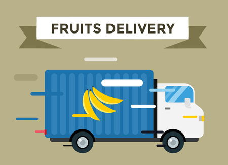 courier delivery: Banana delivery vector truck. Delivery fruits service van. Delivery van vector silhouette. Delivery car icon. Fast delivery truck isolated. Vector delivery truck car driving fast. Banana, export, fruits, shipping Illustration