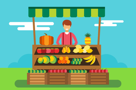 food shop: Fruit and vegetables shop stall. Shop man silhouette, buyers, clients. Woman, girl family in fruits shop. Food shop vector illustration. Banana, apple, orange, lime, pumpkin fruits. Fruit kiosk vector Illustration