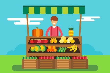 vendedor: Las frutas y verduras puesto de tienda. Tienda silueta del hombre, compradores, clientes. Mujer, la familia de la muchacha en frutas tienda. Tienda de alimentos ilustración vectorial. Frutas plátano, manzana, naranja, limón, calabaza. Quiosco de frutas vector Vectores