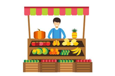 food market: Fruit and vegetables shop stall. Shop man silhouette, buyers, clients. Woman, girl family in fruits shop. Food shop vector illustration. Banana, apple, orange, lime, pumpkin fruits. Fruit kiosk vector Illustration