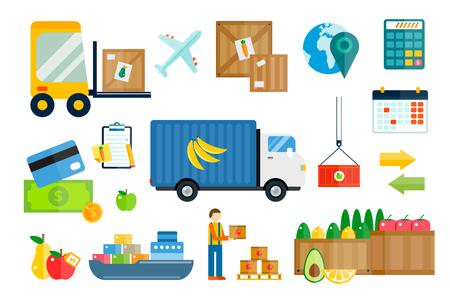 camion grua: Importar iconos vectoriales frutas y verduras de exportaci�n de entrega establecidos. Vector iconos planos infograf�a. Iconos de colores de dise�o moderno planas, s�mbolos de exportaci�n de importaci�n, entrega, env�o, llano, frutas log�stica. Iconos vectoriales Entrega