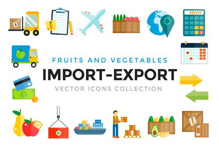 alrededor del mundo: Importar iconos vectoriales frutas y verduras de exportación de entrega establecidos. Vector iconos planos infografía. Iconos de colores de diseño moderno planas, símbolos de exportación de importación, entrega, envío, llano, frutas logística. Iconos vectoriales Entrega