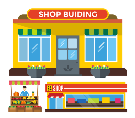 front of house: Shop buildings and stall set. Shop building silhouette, shop vector building. Fruits shop, flowers shop. Food shop vector illustration. Shop kiosk vector outdoor