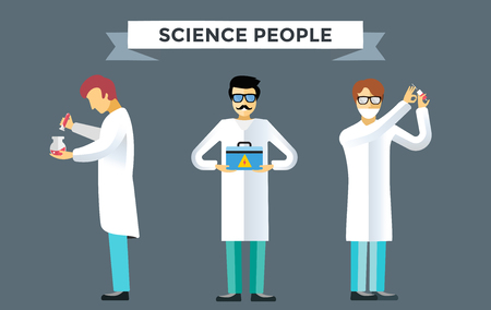 laboratory glass: Science laboratory vector people set. People in laboratory isolated silhouette. Chemist, Medical Doctor, Scientist laboratory, science, research, biologist, lab, test, flask icons vector illustration