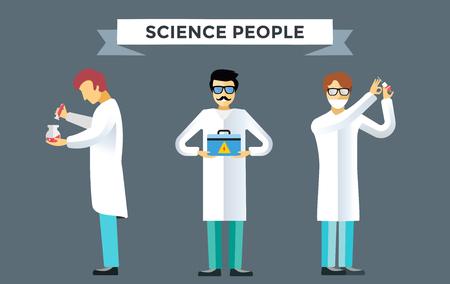 Persone laboratorio di scienze insieme vettoriale. Le persone in laboratorio isolato silhouette. Chimico, medico chirurgo, laboratorio scienziato, scienza, ricerca, biologo, laboratorio, prova, icone pallone illustrazione vettoriale
