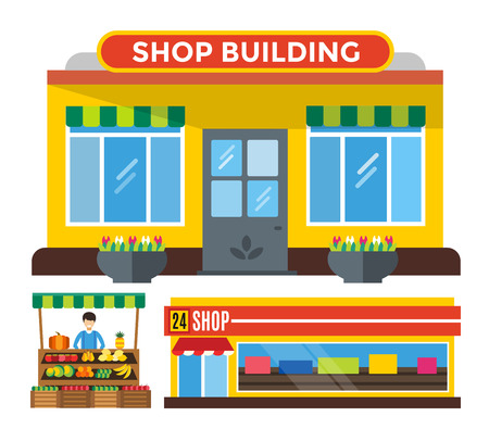 Shop buildings and stall set. Shop building silhouette, shop vector building. Fruits shop, flowers shop. Food shop vector illustration. Shop kiosk vector outdoor. Flowers shop, fruits shop, music shop Illustration