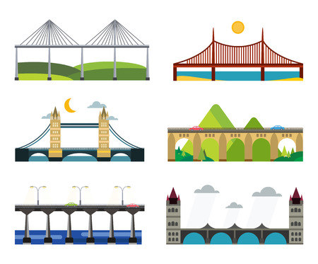 suspension bridge: Bridge vector set. Bridges silhouette vector illustration. Different bridges from countries isolated on white. Bridges vector icons. Travel, cars, road, bridge, outdoor. Bridges vector isolated