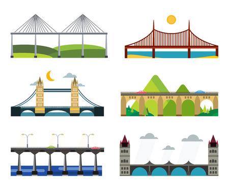Bridge vector set. Bridges silhouette vector illustration. Different bridges from countries isolated on white. Bridges vector icons. Travel, cars, road, bridge, outdoor. Bridges vector isolated