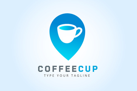 drinking coffee: Vector coffee cup icon template.