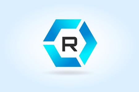 r: R letter vector. R  icon template.  Illustration