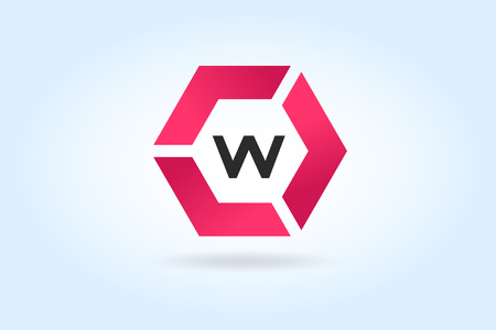 letter a: w icon Illustration