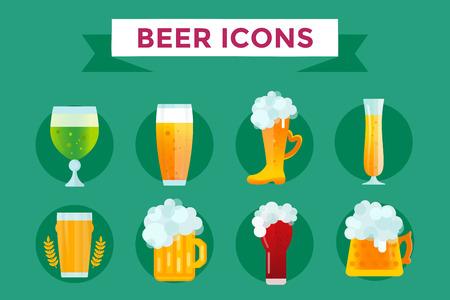 Bier vector iconen set. Bierfles, glas bier en bier label. Bier kopjes silhouet, bier vector iconen, bier geïsoleerd. Oktoberfest bier vector set. Bier drank, bier teken, bier pub alcohol