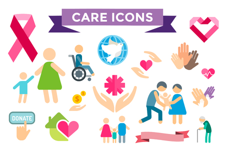social care: Charity care flat icons set.