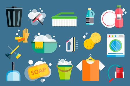 servicio domestico: Iconos de limpieza conjunto de vectores.