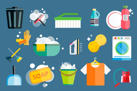 Cleaning icons vector set.  Illustration