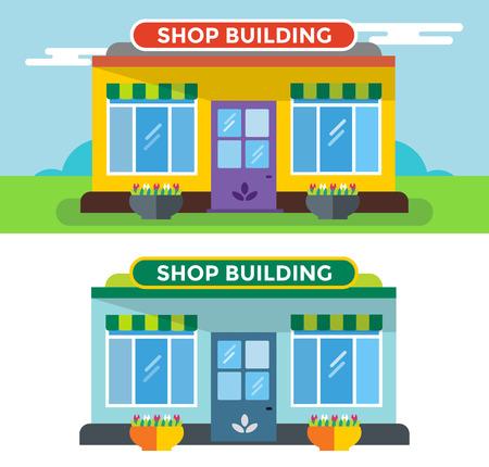 Shop gebouwen vector geïsoleerd. Shop gebouw silhouet, winkel vector gebouw. Supermarkt, winkel gebouw. Sommige winkel vector illustratie. Shop vector outdoor. Winkel gebouw, winkel geïsoleerde Stock Illustratie