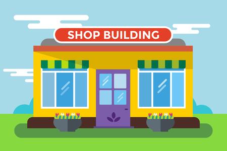 negozio: Edifici Negozio vettore isolato. Negozio edificio silhouette, negozio di vettore edificio. Negozio supermercato, negozio edificio. Alcuni illustrazione negozio vettoriale. Negozio vettore esterno. Costruzione Negozio, negozio isolato