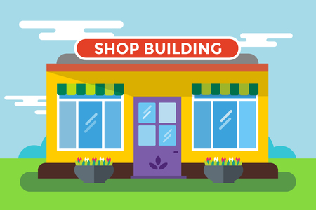 shop window: Shop buildings vector isolated. Shop building silhouette, shop vector building. Supermarket shop, shop building. Some shop vector illustration. Shop vector outdoor. Shop building, shop isolated