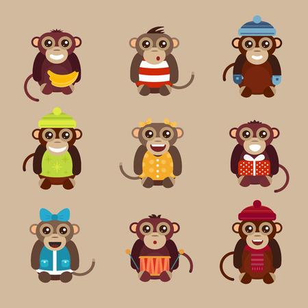 mono caricatura: Feliz mono mono de dibujos animados feliz juguetes