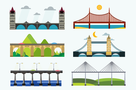 suspension bridge: Bridges silhouette illustration