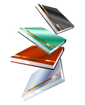 libros: Libro 3d aislado en blanco Vectores