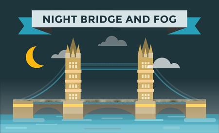 london night: Tower bridge illustration