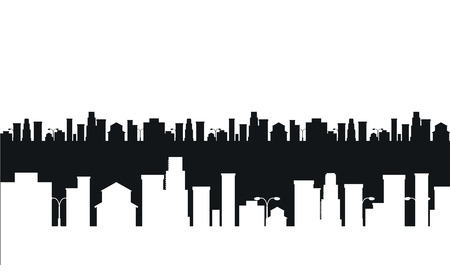 new york city panorama: Black and white cities silhouette Illustration