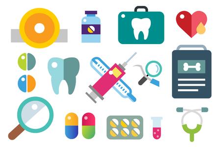 health: Medicine icons set Illustration