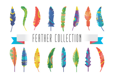 feather background: Feathers silhouette set Illustration