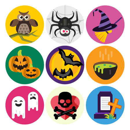 brujas caricatura: Halloween icons set Vectores