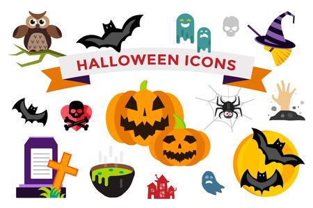 ghost house: Halloween icons set Illustration