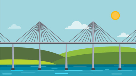 suspension bridge: Modern bridge illustration Illustration