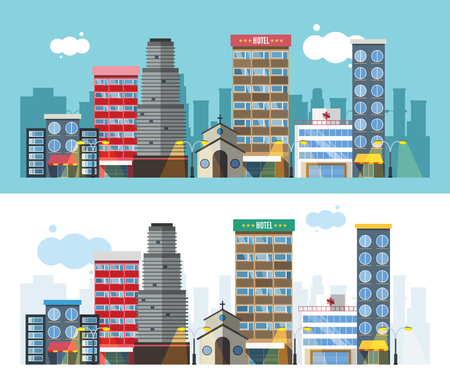 city scene: Buildings and city transport flat style illustration