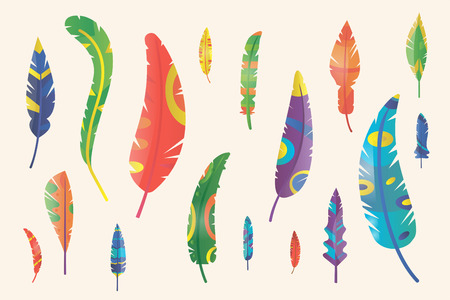 a feather: Feathers silhouette set Illustration