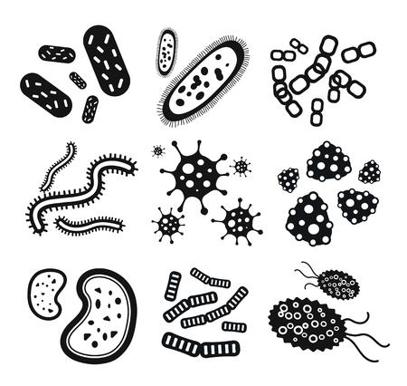 Bacteria virus black and white icons set