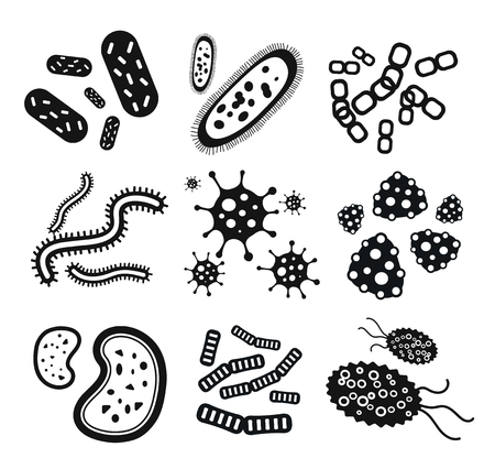 Bacteriën virus zwart-wit pictogrammen instellen