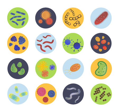 bacteria: Bacteria virus icons set