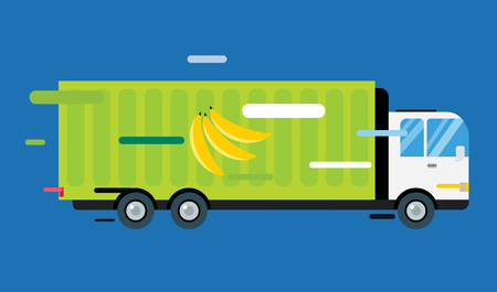 delivery truck: Banana delivery truck Illustration