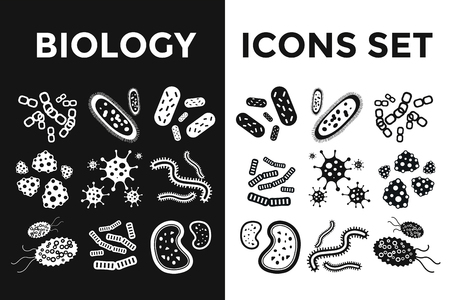 virus cell: Bacteria virus black and white vector icons set. Biology microorganisms, microbes germs and bacilli. Vector biology icons, medical virus icons, bugs isolated. Virus science microbe vector icons black Illustration