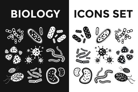 BIOLOGIA: Virus bacterias iconos vectoriales en blanco y negro establecen. Microorganismos Biología, microbios y gérmenes bacilos. Iconos de biología del vector, iconos virus médicos, errores aislados. Iconos vectoriales ciencia microbio Virus negro